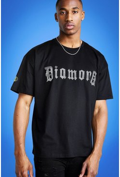 Mens Black Mist Oversized Reflective Print T-Shirt