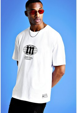 Mens White Mist Oversized Front & Back Print T-Shirt