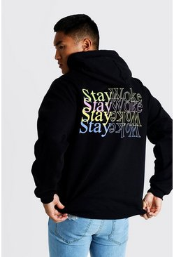 Mens Black Front & Back Print Stay Woke Hoodie