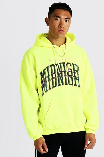 Mens Green Midnight Print Neon Hoodie