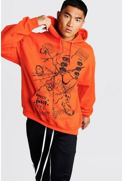 Oversized Printed Neon Hoodie, Orange, Uomo