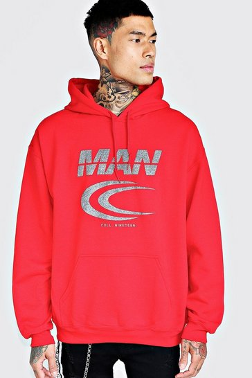 Mens Red MAN Reflective Print Hoodie