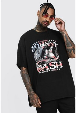 Oversized Johnny Cash License T-Shirt, Black, HERREN