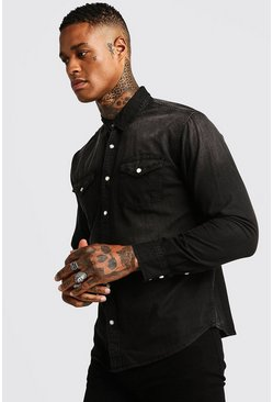 Washed Black Denim Shirt, HOMBRE