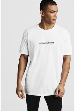 Oversized Front Print Tee, White, HOMMES