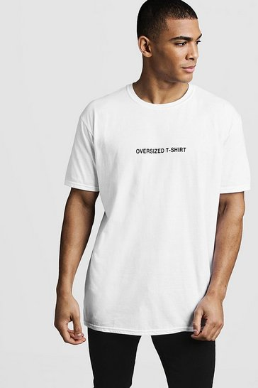 Mens White Oversized Front Print Tee