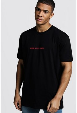 Mens Black Oversized Wash Instruction Front Print Tee