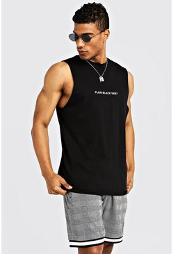 Mens Plain Black Vest