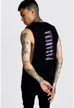 Mens Black Back Print Drop Armhole Tank