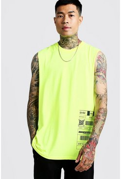 MAN Drop Armhole Print Tank, Neon-yellow, HOMMES
