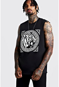 Front Print Tiger Graphic Drop Armhole Tank, Black, HOMMES