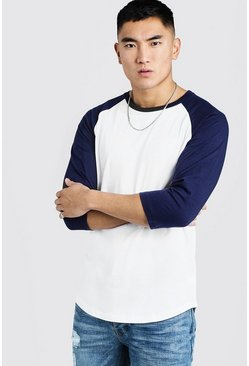 Mens Navy 3/4 Sleeve Raglan T-Shirt