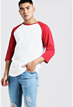 Mens Red 3/4 Sleeve Raglan T-Shirt