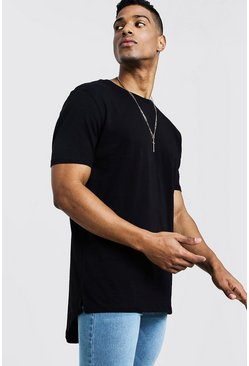 Mens Black Longline T-Shirt With Drop Tail