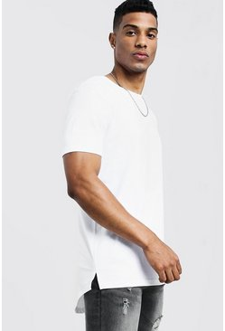 Mens White Longline T-Shirt With Drop Tail