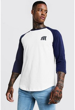 Gothic M Raglan T-Shirt With 3/4 Sleeve, Navy, HERREN
