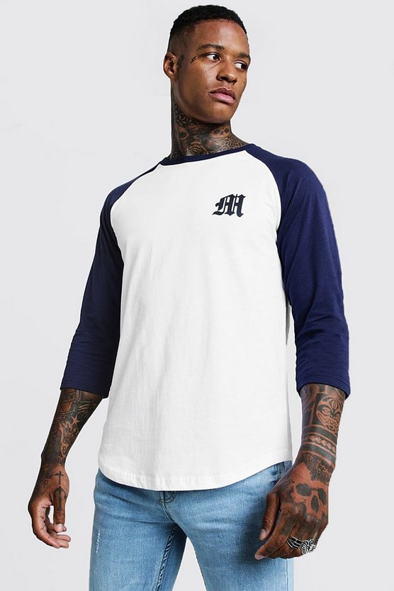 Mens Navy Gothic M Raglan T-Shirt With 3/4 Sleeve