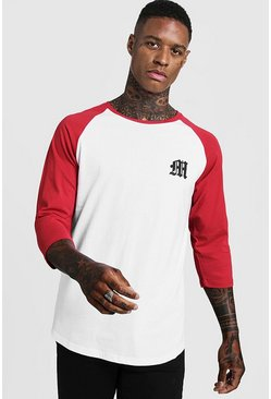 Gothic M Raglan T-Shirt With 3/4 Sleeve, Red, HOMMES