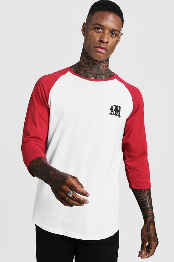 Mens Red Gothic M Raglan T-Shirt With 3/4 Sleeve
