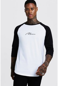 Mens Black MAN Signature Raglan T-Shirt With 3/4 Sleeve
