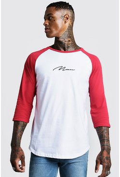 MAN Signature Raglan T-Shirt With 3/4 Sleeve, Red, HERREN