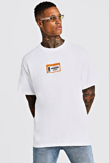 Mens White Oversized BHM Ticket Printed T-Shirt