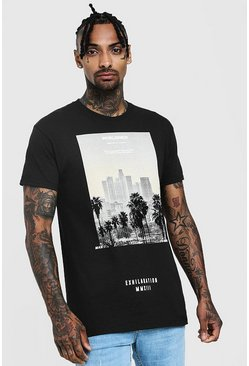 T-shirt imprimé palmier international, Noir, Homme