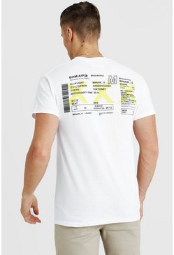 Airline Ticket T-Shirt, White, HERREN