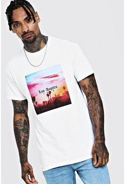 Los Angeles Palm Tree T-Shirt, White, HERREN