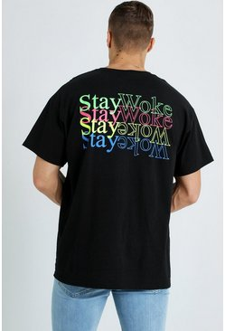 Mens Black Oversized Stay Woke Printed T-Shirt
