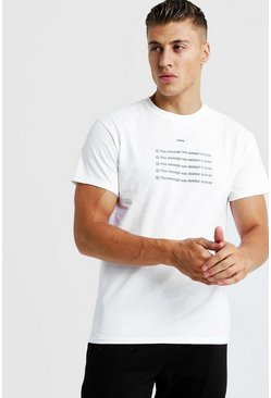 T-Shirt mit Message Deleted Meme, Weiß, Herren