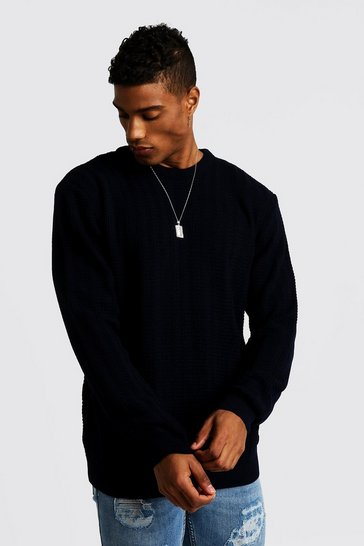 Mens Navy Ladder Stitch Crew Neck Knitted Jumper