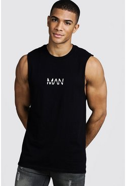 Original MAN Print Drop Armhole Tank, Black, Uomo