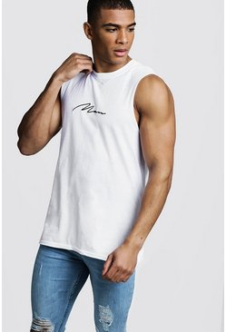 Mens White MAN Signature Drop Armhole Tank