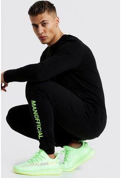 Slim Fit Joggers With Neon MAN Official Print, Black, HERREN