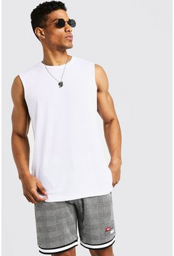 Mens White Drop Armhole Tank