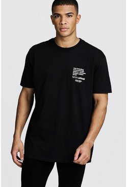 Oversized MAN Limited Edition Printed T-Shirt, Black, HOMBRE