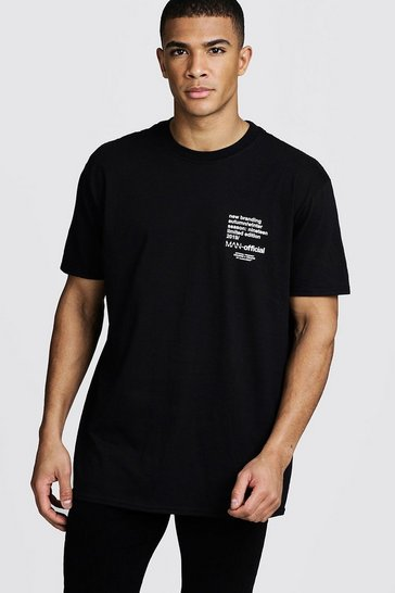 Mens Black Oversized MAN Limited Edition Printed T-Shirt
