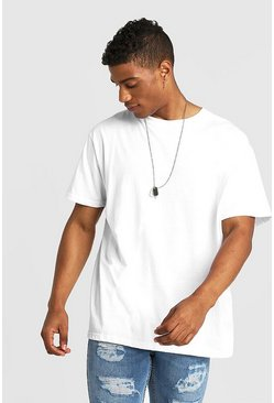 Basic Loose Fit T-Shirt, Weiß, Herren
