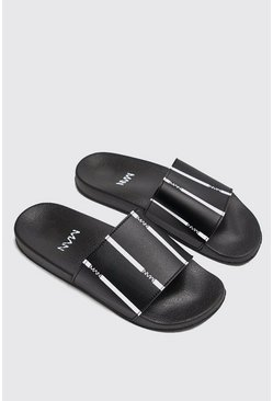 Mens Black MAN Stripe Slider