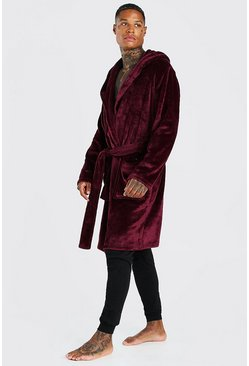 Herr Burgundy MAN Embroidery Soft Fleece Robe