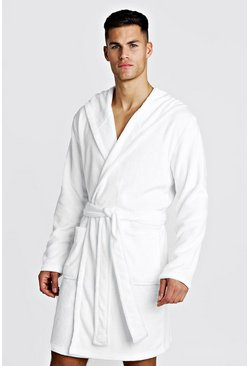 Mens White MAN Embroidery Soft Fleece Robe