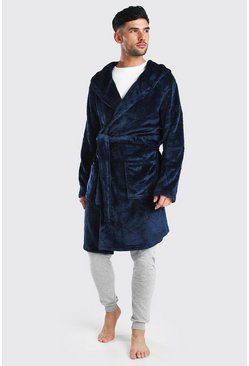 Weicher Fleece-Morgenmantel mit MAN-Stickerei, Marineblau, Herren