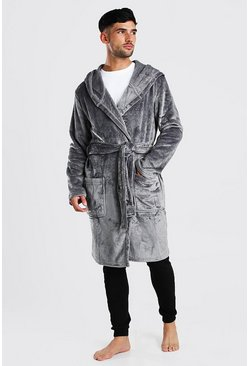 Mens Grey Man Embroidery Soft Fleece Robe