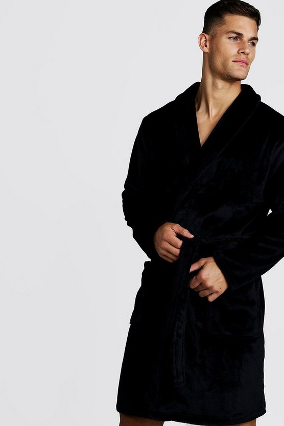 Mens Black Shawl Collar Soft Fleece Embroidered Robe