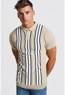 Mens Ecru Striped Knitted Polo