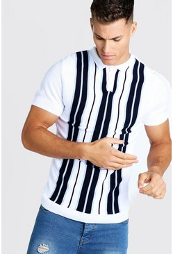 Herr Navy Striped Knitted Polo