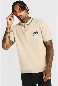 Mens Stone Gothic M Knitted Polo With Tipping