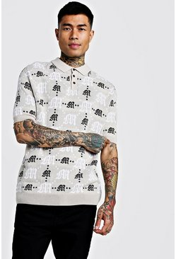 Gothic M All Over Print Knitted Polo, Taupe, HERREN