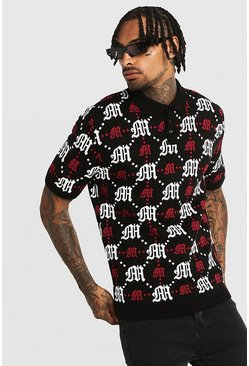 Gothic M All Over Print Knitted Polo, Black, HERREN